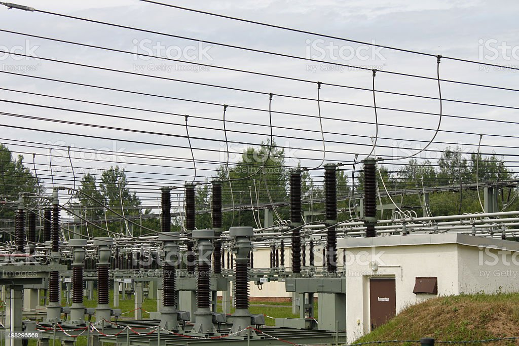 high voltage substation transformer station electric Strom stock photo