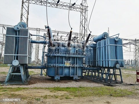 High voltage switchyard and electrical power substation and transformer 4 february 2020, Punjab india