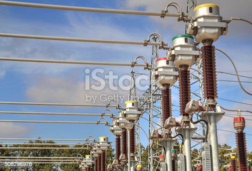High voltage switch-yard in modern electrical substation