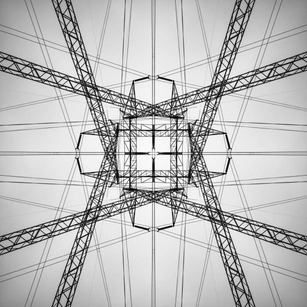 hochspannung symmetrie - stromkabel stock-fotos und bilder