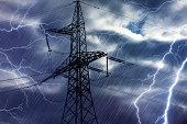 High voltage tower and lightning strikes