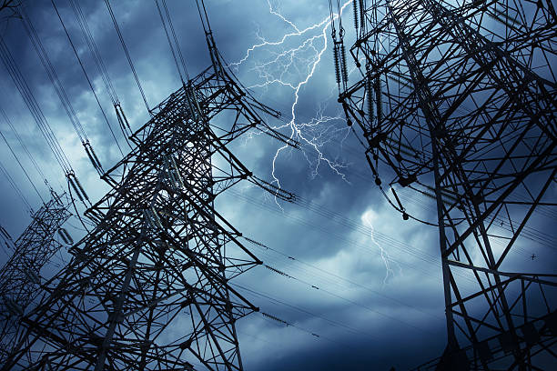 High voltage tower before the rain stock photo