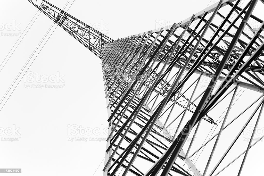 High voltage Tower, black and white stock photo
