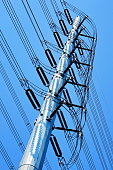 Pole with electric wire