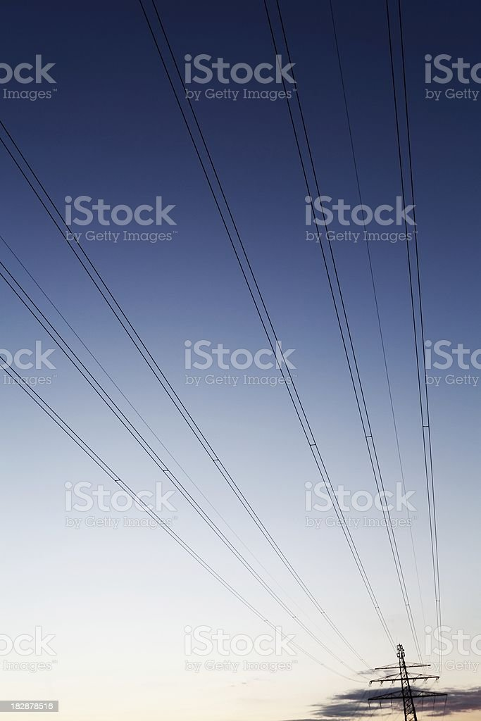 High Voltage Tower - wide angle royalty-free stock photo