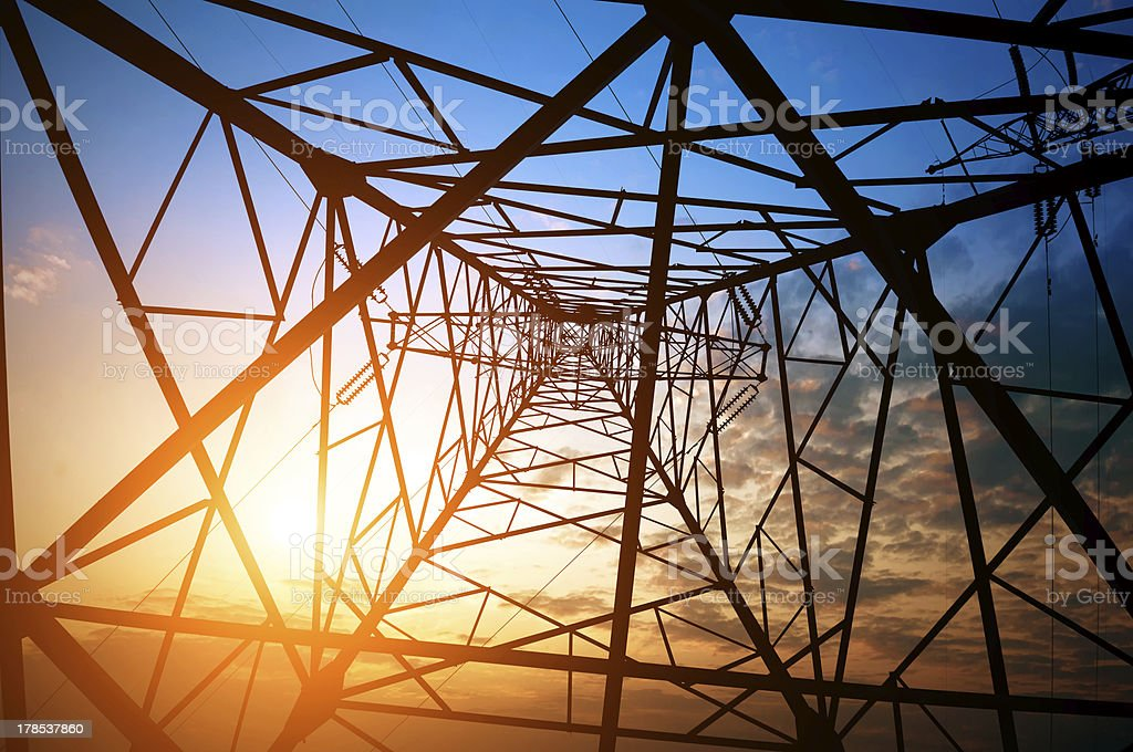 High voltage tower with sunny sky background royalty-free stock photo