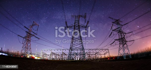 High voltage towers at night and the Milky Way