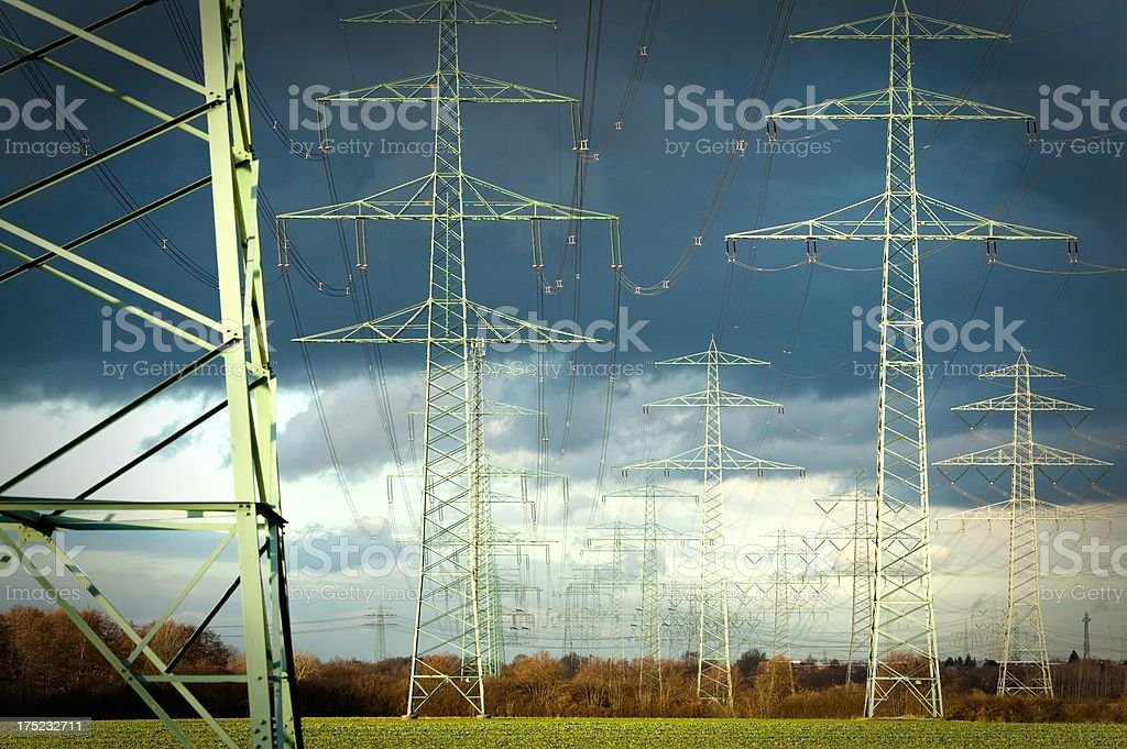 High Voltage Towers stock photo