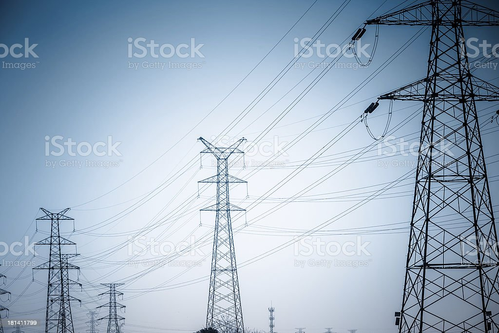 High voltage towers royalty-free stock photo