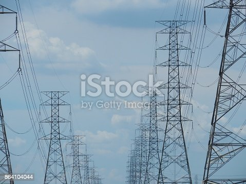 High Voltage Towers Stock Photo & More Pictures of Built Structure