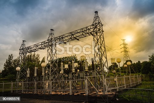 High voltage transformers and electric converters equipment in switchyard of hydroelectric power plant at Pak Mun Dam, a run-of-river hydroelectricity in Ubon Ratchathani Province, Thailand.