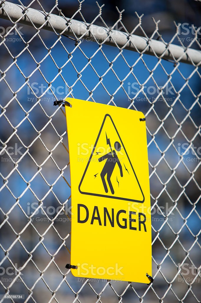High Voltage warning, Danger sign. stock photo