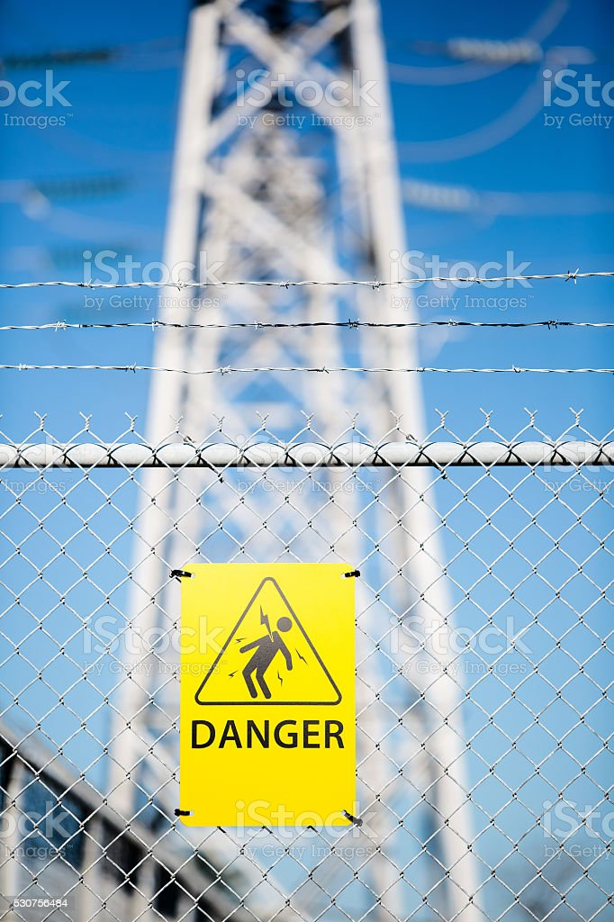 High Voltage warning, Danger sign. stock photo