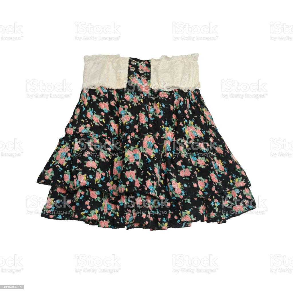 High waist floral pattern skirt isolated on white background with path stock photo