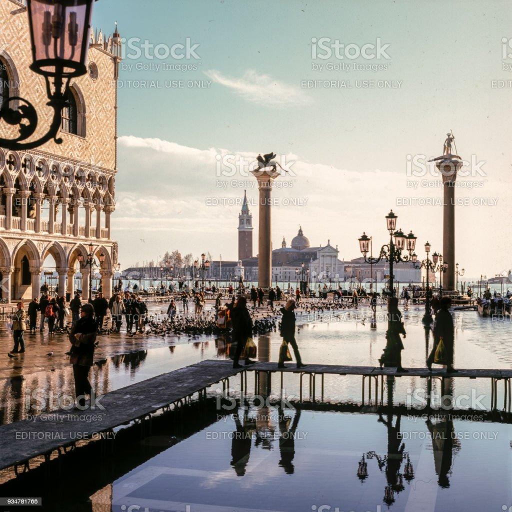 Acqua alta in Piazza stock photo
