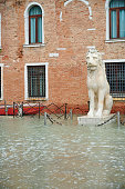 A lion statue at the entrance of Arsenale during high tide (Acqua Alta). Castello District. Venice. Italy.