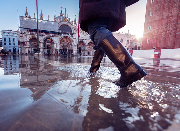 acqua alta in venice stock photo