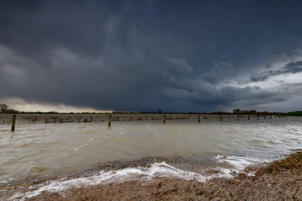 High water level in the river IJssel near Zwolle in Overijssel, The Netherlands.