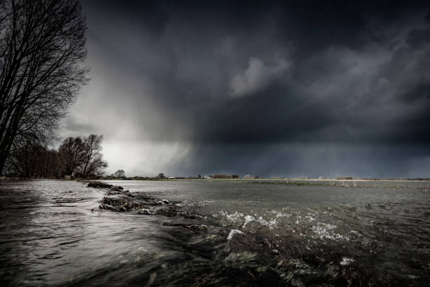 High water level in the river IJssel near Zwolle in Overijssel, The Netherlands. stock photo