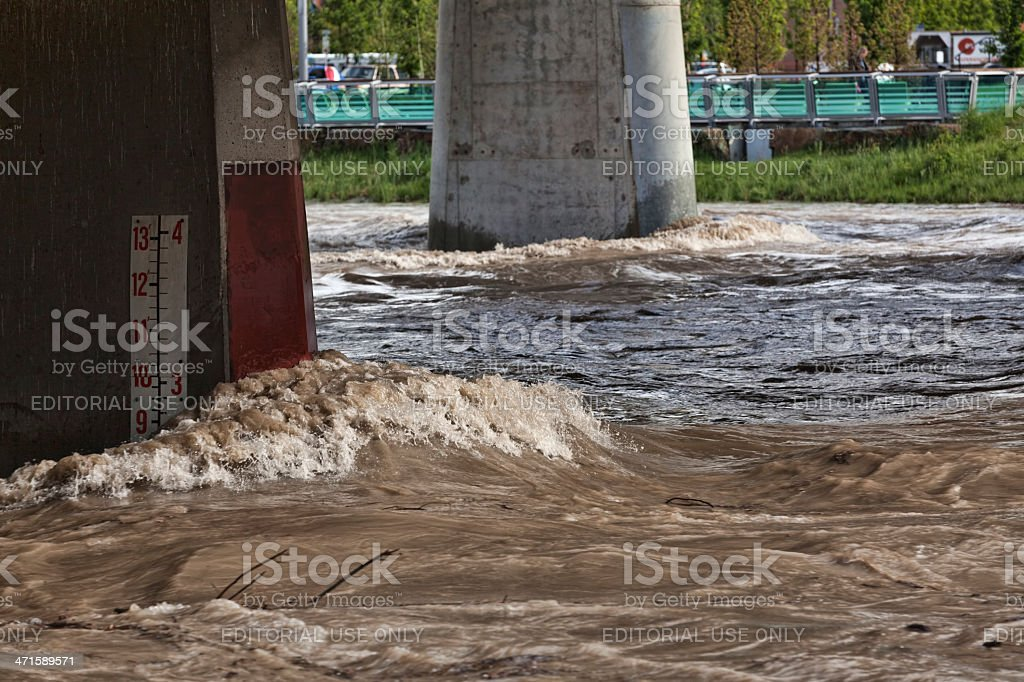 High Water on the Bow River in Calgary royalty-free stock photo