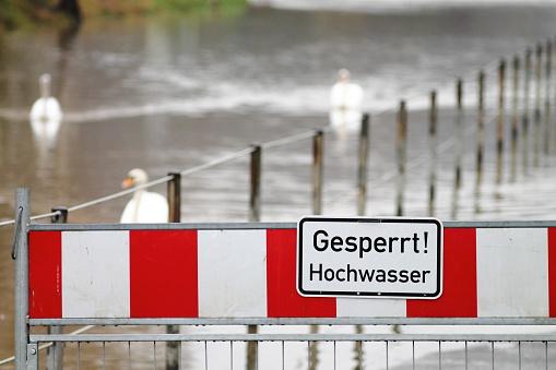 High water warning street barrier in germany.