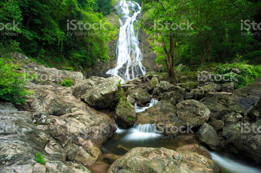 High waterfall in Thailand stock photo