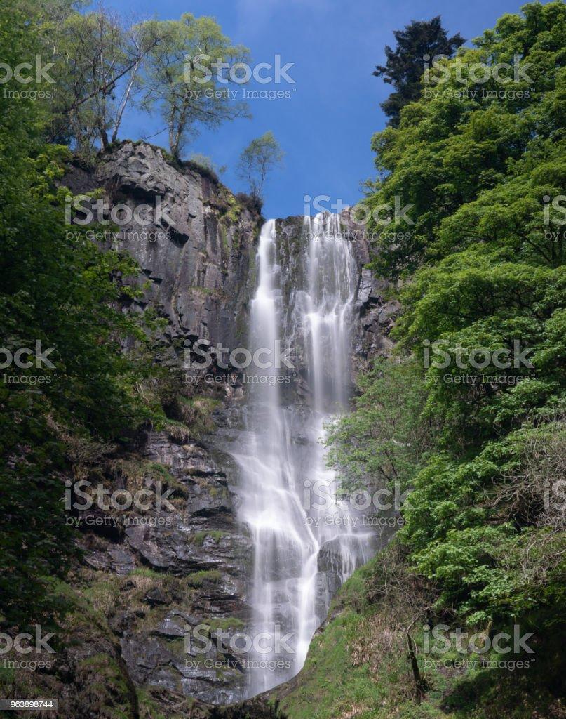 High waterfall of Pistyll Rhaeadr in Wales - Royalty-free Beauty Stock Photo