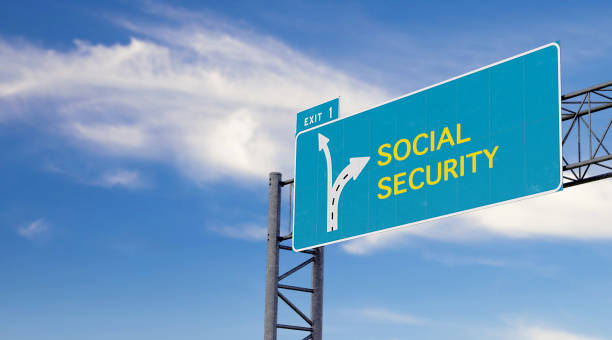 high way sign with motivation, warning or advice message about social security stock photo