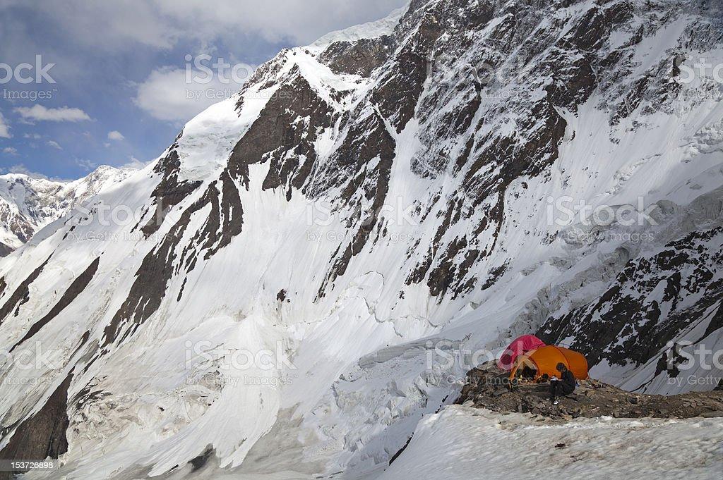 High-altitude mountaineering camp on Khan Tengri peak, Tian Shan mountains royalty-free stock photo
