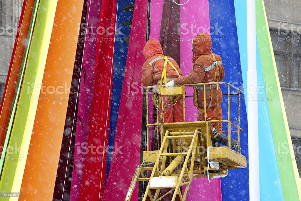 High-altitude workers royalty-free stock photo