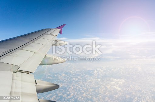 istock High-angle view from airplane window. 908874788