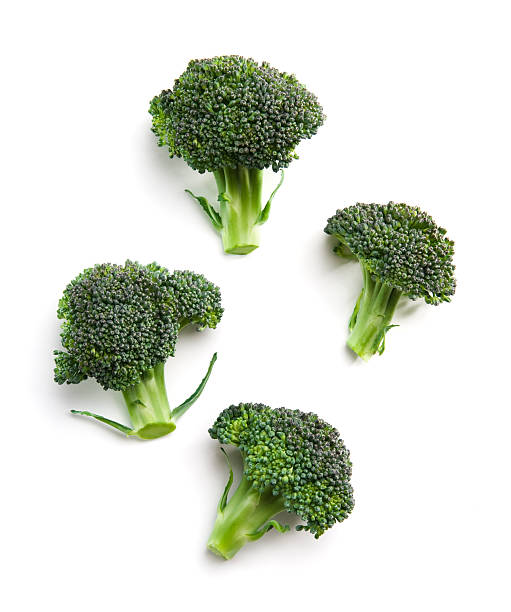 High-angle view of broccoli florets stock photo