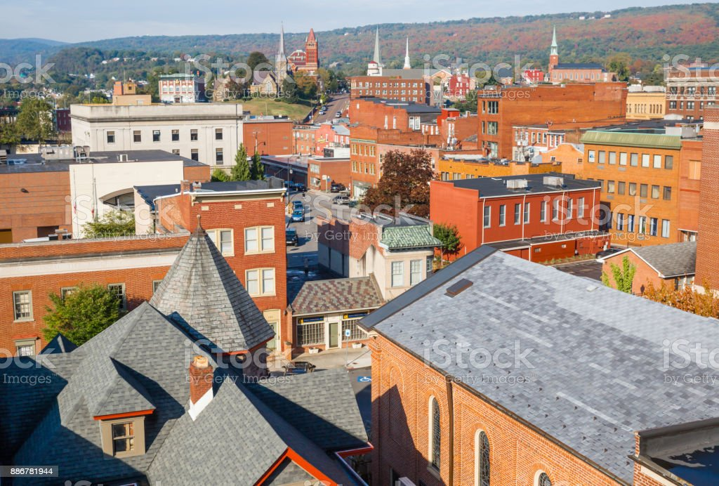 High-angle View of Rooftops, Building and Steeples In Cumberland Maryland stock photo