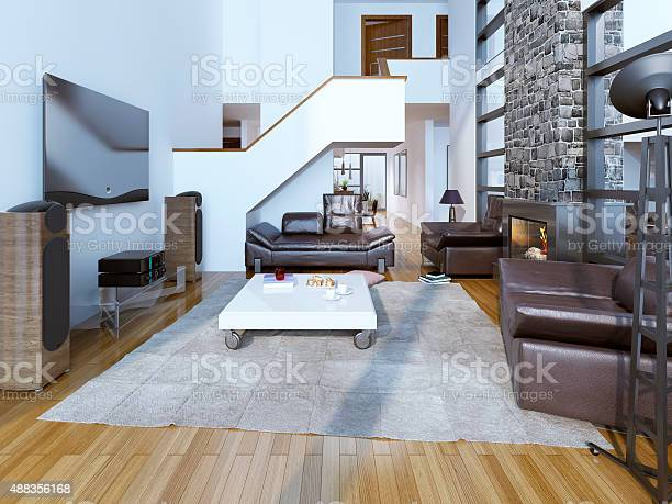 Highceiling Lounge Room With Fireplace Stock Photo Download Image Now Istock