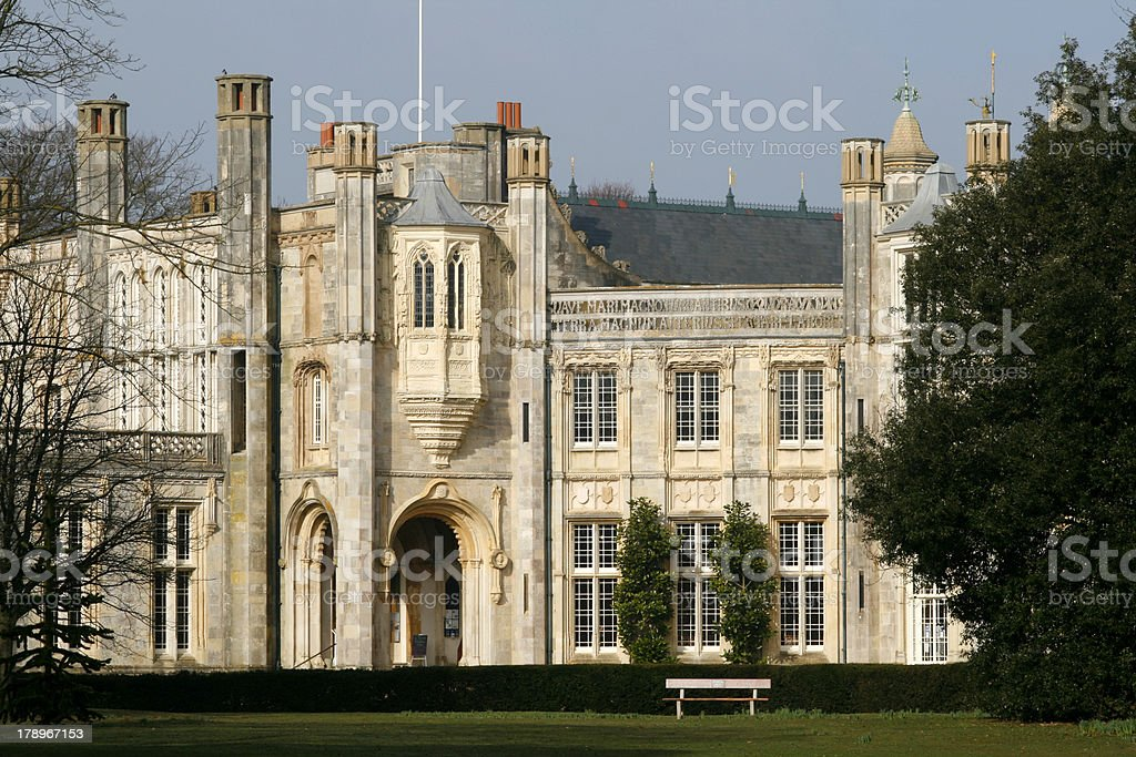 Highcliffe Castle A view of Highcliffe Castle in the morning sun. Un-sharpened. Ancient Stock Photo