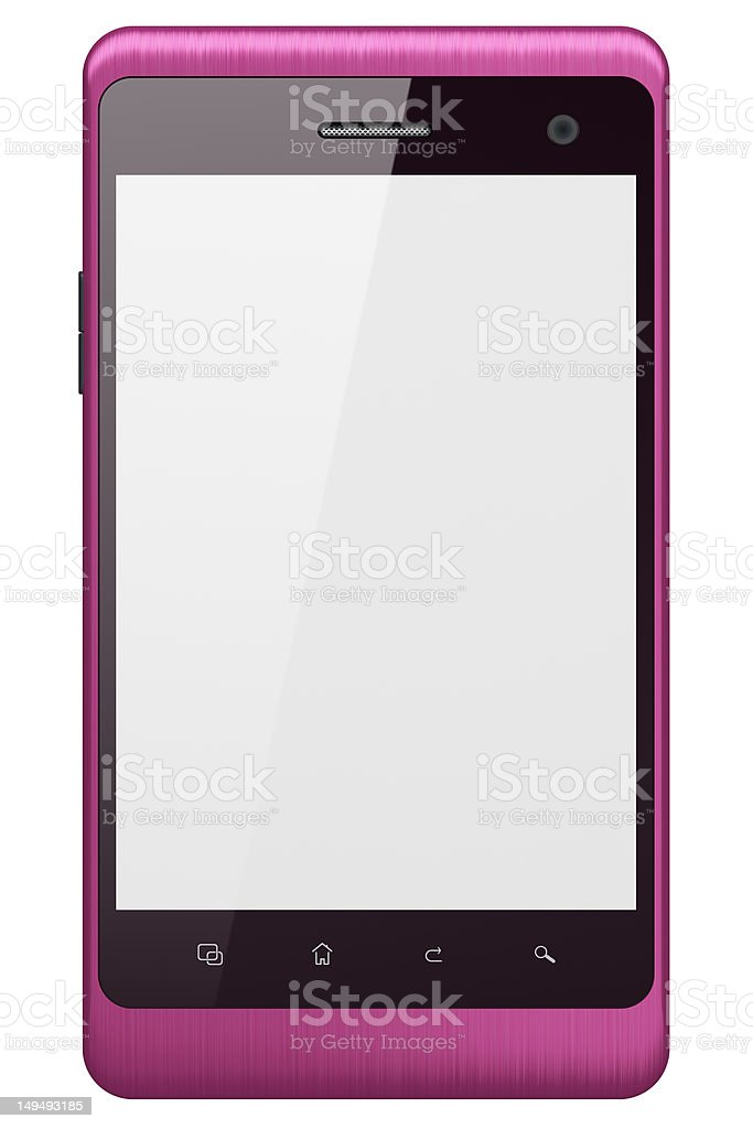 High-detailed pink smartphone isolated over white background royalty-free stock photo