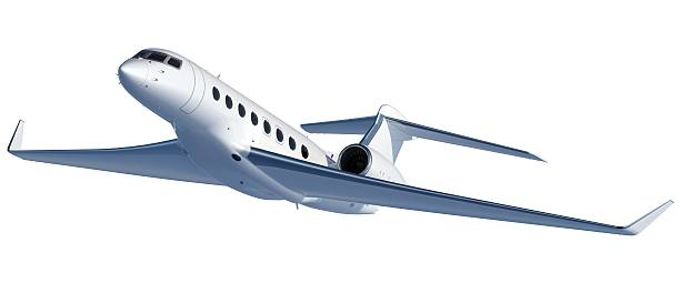 High-end Business Jet taking off stock photo