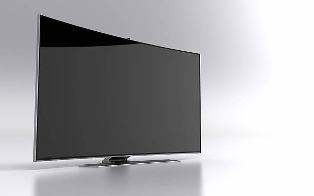 high-end curved smart led tv - janulla stock pictures, royalty-free photos & images
