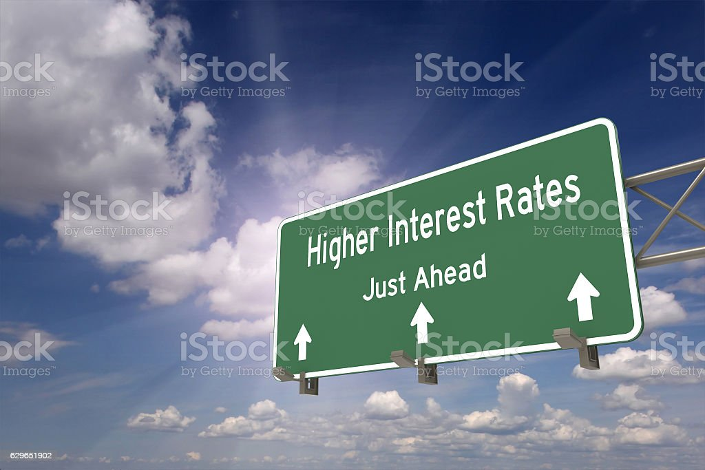 Higher interest rates ahead concept stock photo