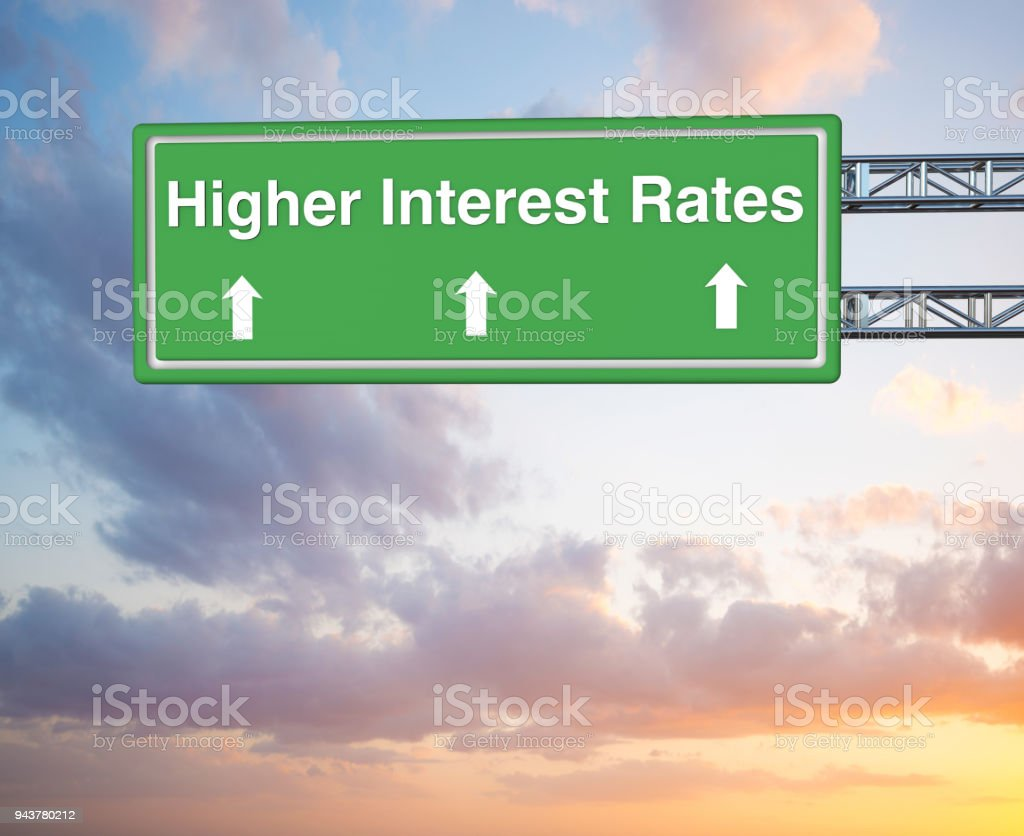 Higher Interest Rates Road Sign stock photo