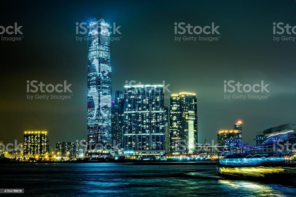Highest Hong Kong skyscraper International Commerce Centre at night,...