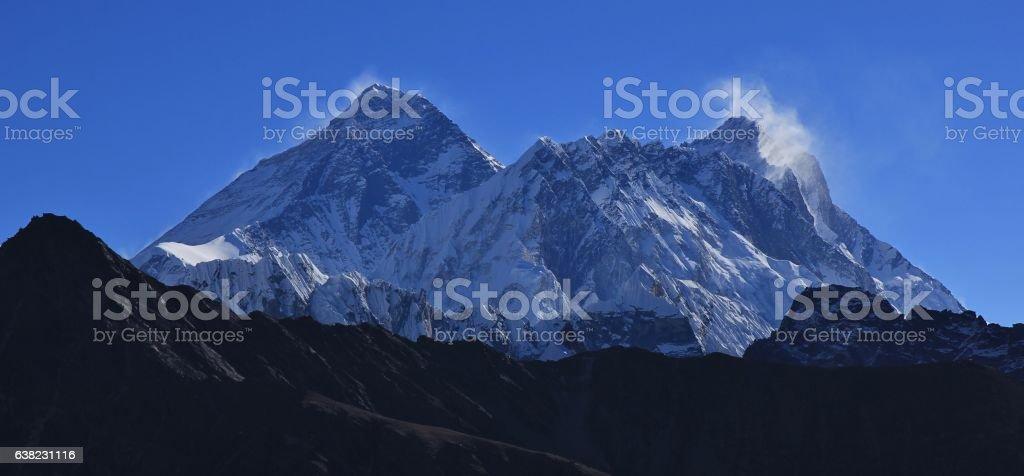 Highest mountain of the world, mount Everest stock photo