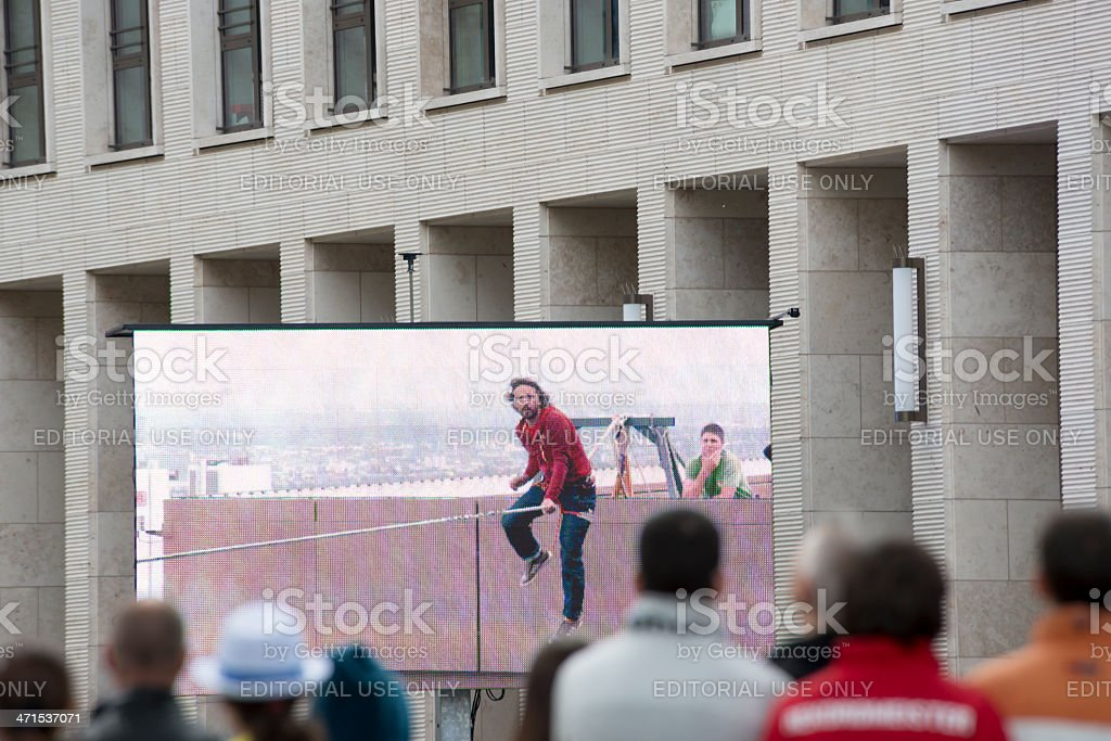 Highest Slackline, Skyscraper Festival, Frankfurt, Germany royalty-free stock photo