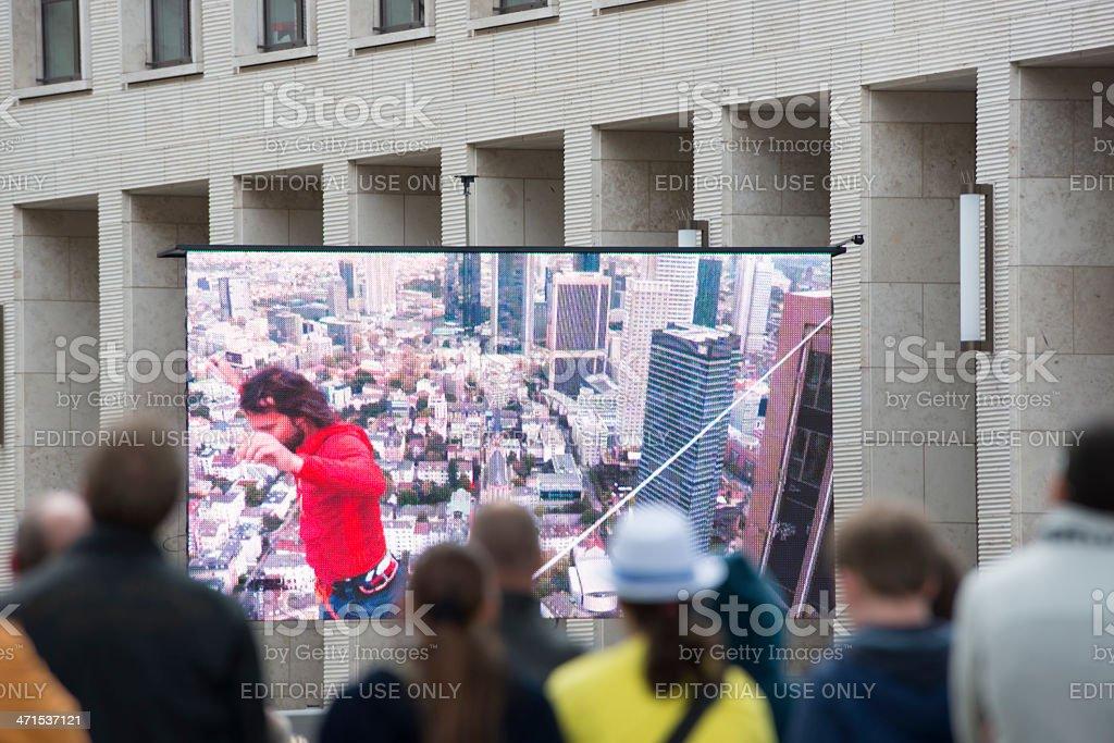 Highest Slackline, Skyscraper Festival, Frankfurt, Germany. royalty-free stock photo
