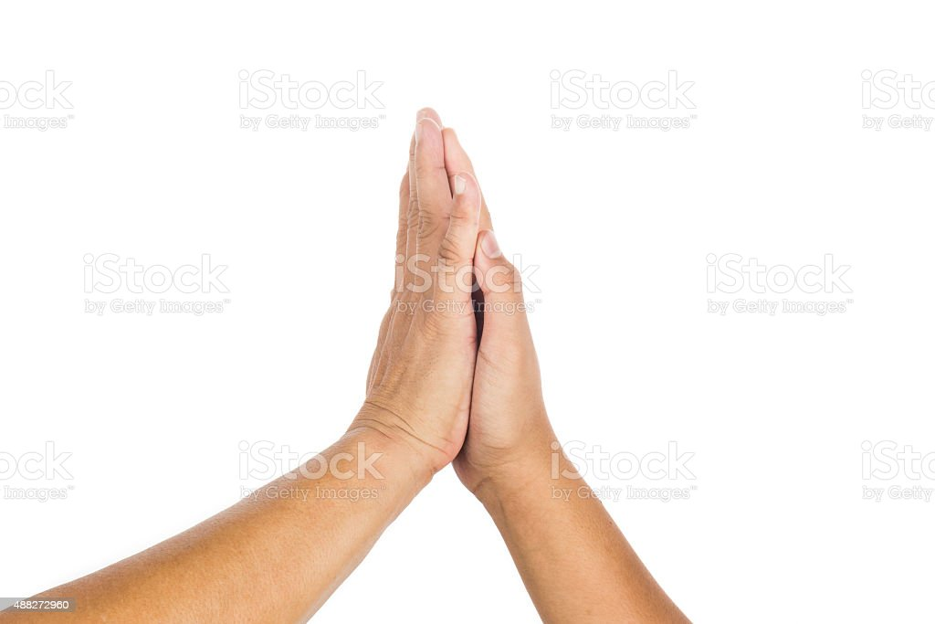 High-five gesture by two person celebrating achievement. stock photo