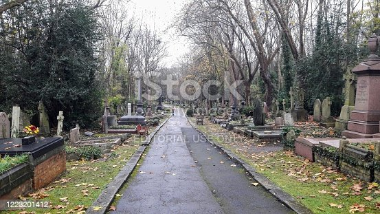 London - Highgate - United Kingdom - November 20, 2017. Tombstones and graves in the East side of this Victorian cemetery opened in 1860 to cater for an increasing demand.