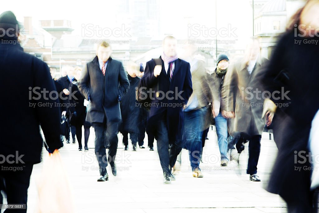 High-key urban London professionals walking to the office royalty-free stock photo