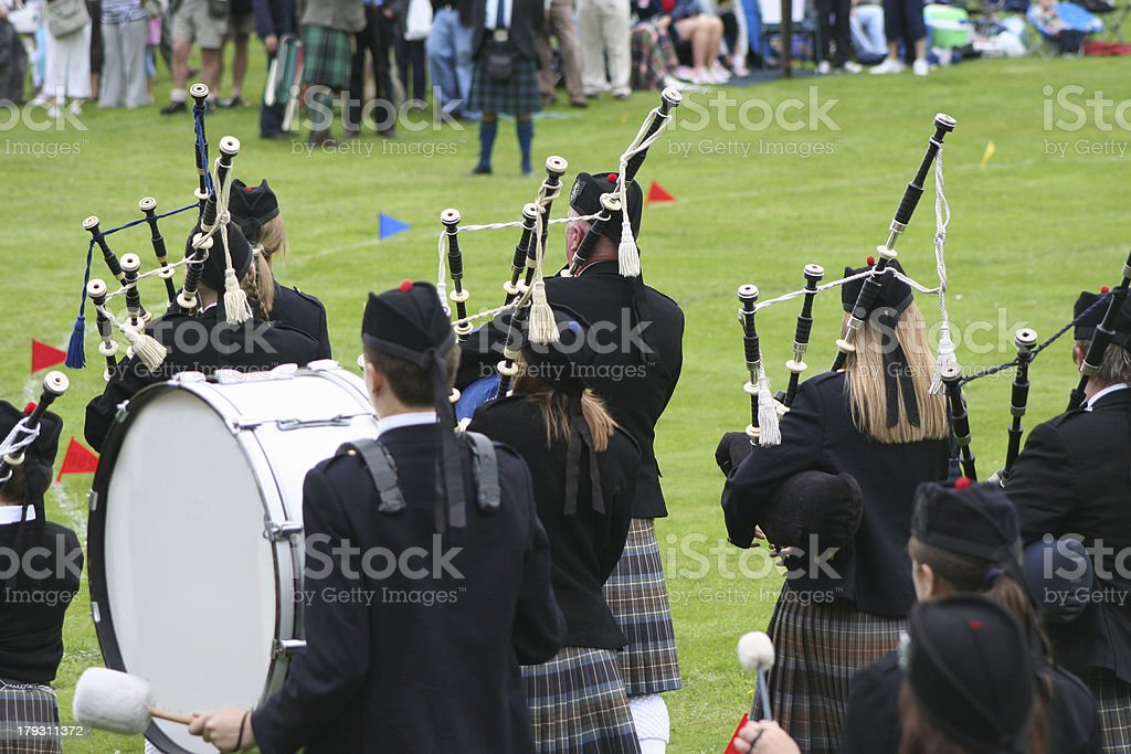 highland band rear view stock photo