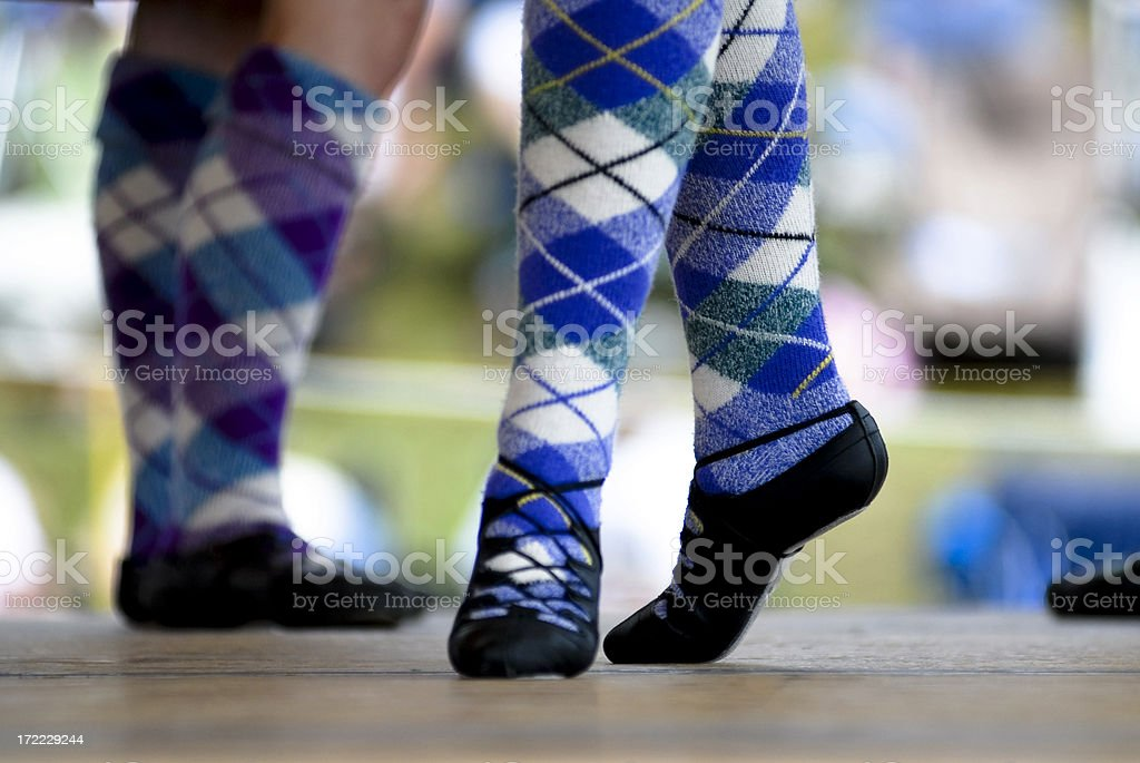 Highland dancer shoe and sock detail royalty-free stock photo