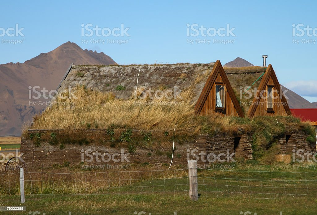 Highland Farm Buildings at Moorudalur in Iceland stock photo